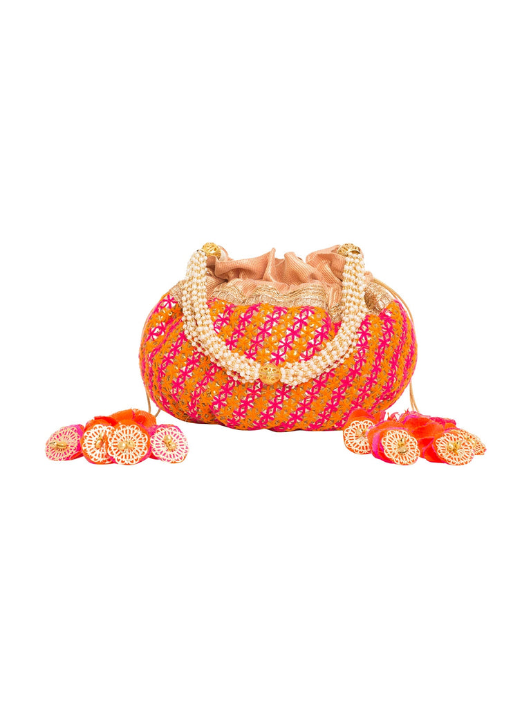 Izumi Pink And Orange Embroidered Potli