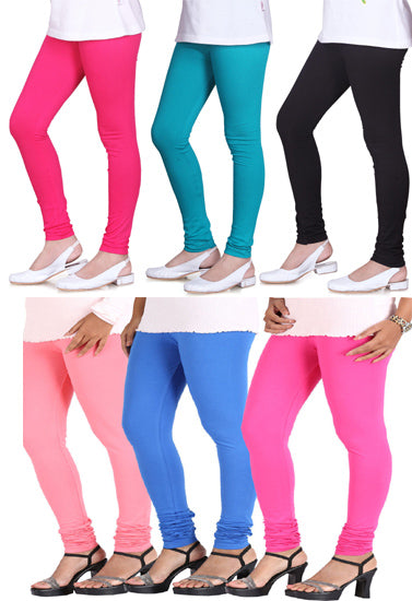 Women's Cotton Multi Colors Leggings 6-Pk