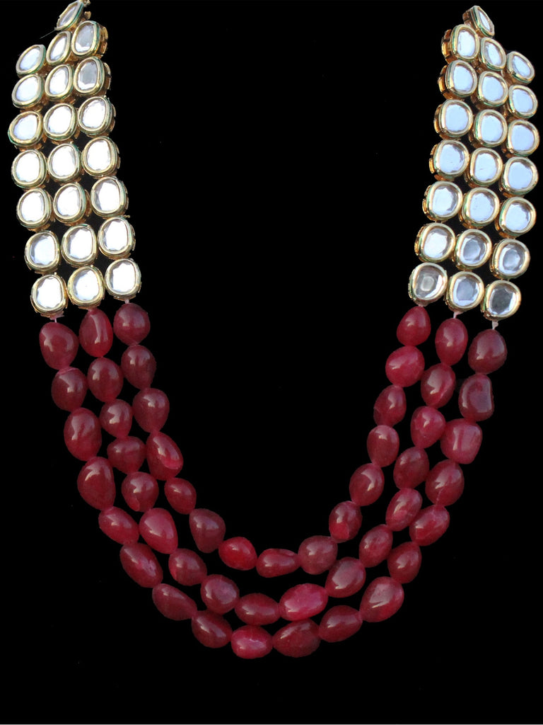 Kashi Red Onyx And Kundan Three Line Necklace