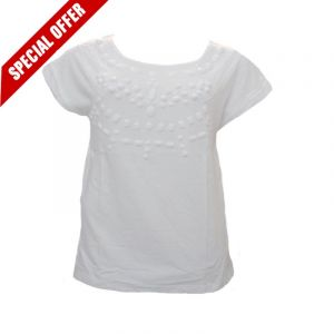 70% Off White Front Crystal Top