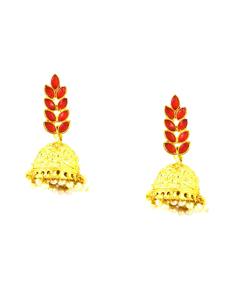 Leaf Jhumka (Red)
