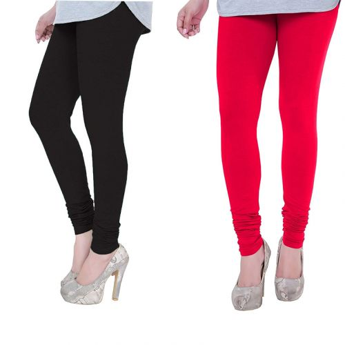 Women's Cotton Lycra Churidar Leggings Pack of 2