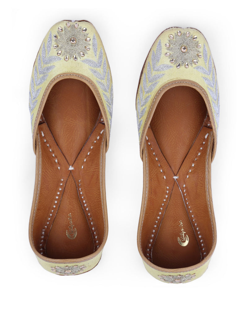 Lemon Yellow Embroidery Juttis