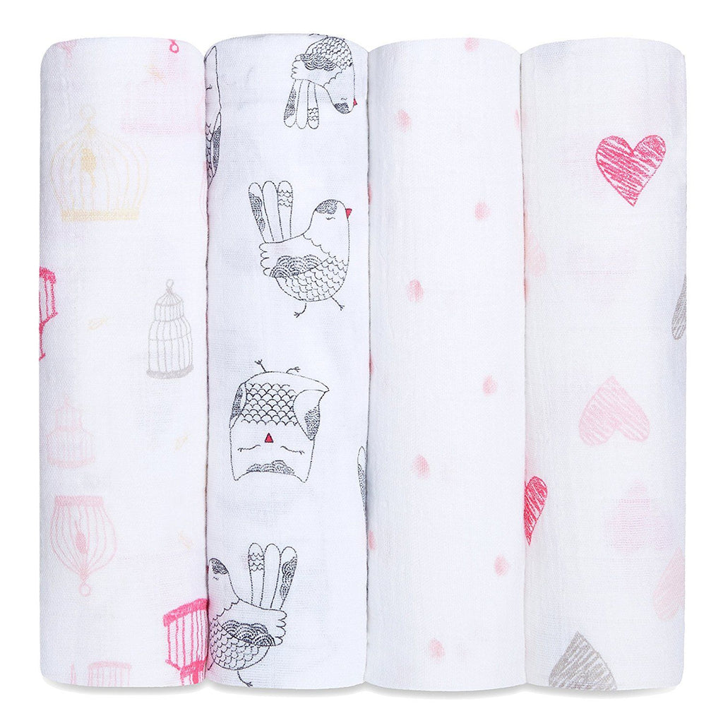 Aden+Anais - Lovebird 4-Pack Classic Swaddles