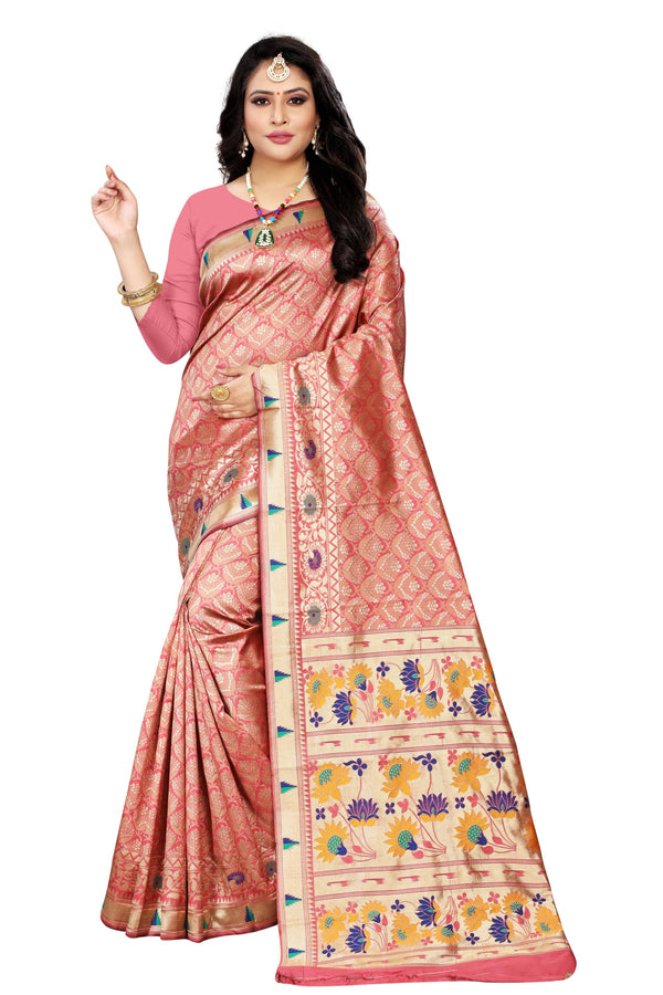 ethnique kiran light pink women party wear saree