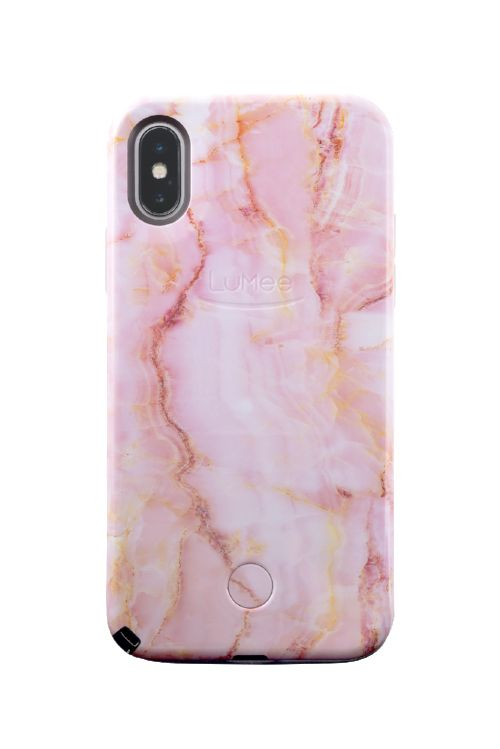 LuMee Selfie Light Case for Phone X/Xs - Pink Quartz