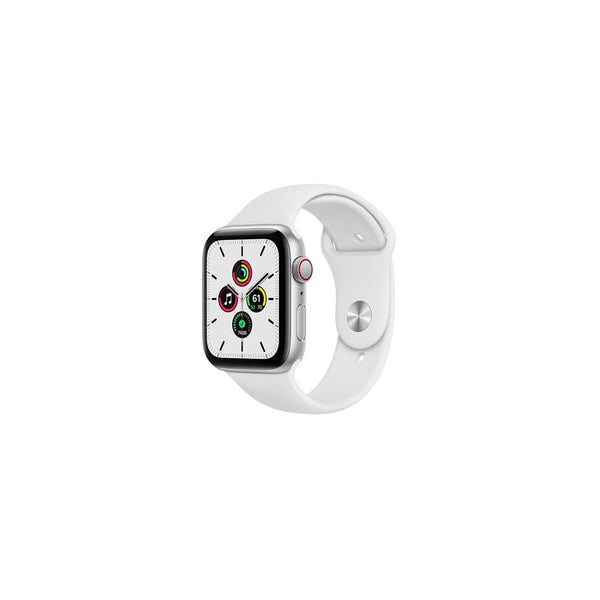 Apple Watch SE GPS + Cellular 44mm Silver Aluminum Case with White Sport Band