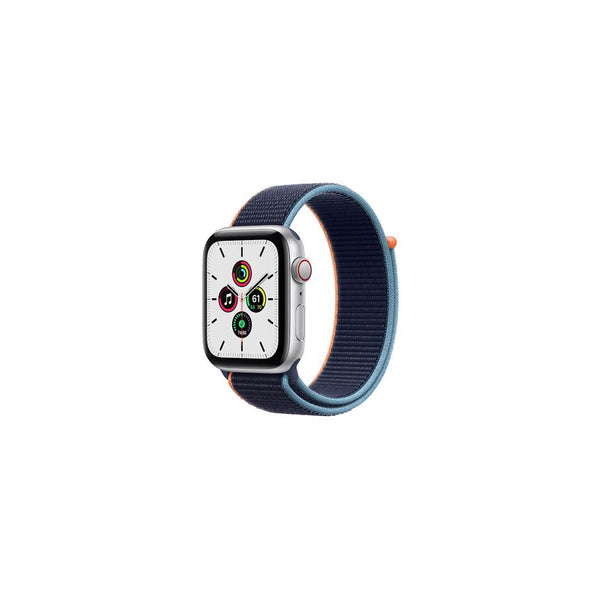 Apple Watch SE GPS + Cellular 44mm Silver Aluminum Case with Deep Navy Sport Loop