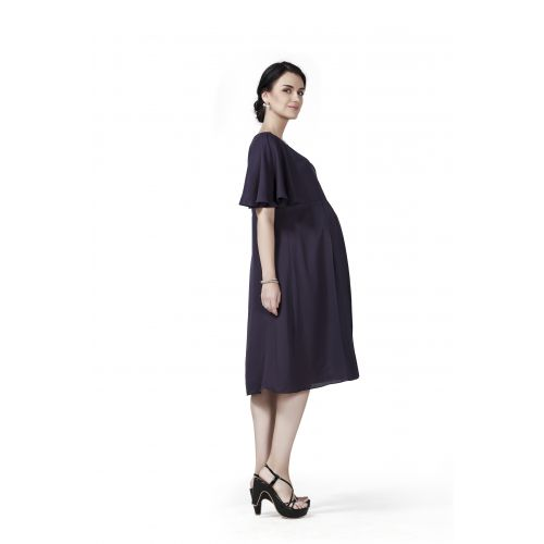 Radiation Safe- Comfortable Knee Length Maternity Dress With Flare Sleeves
