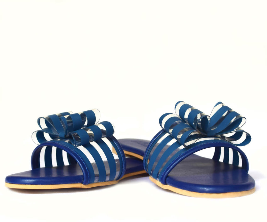 Navy Blue Striped Double Bow Flats