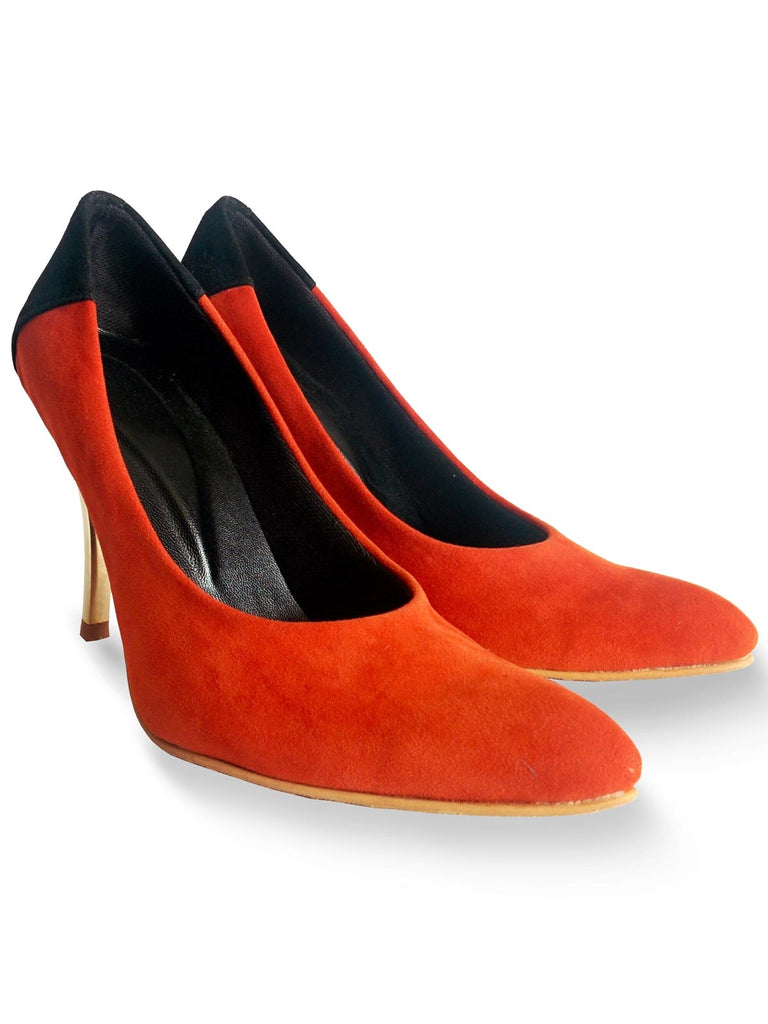 Orange Color Blocked Pointy Toe Stilleto's