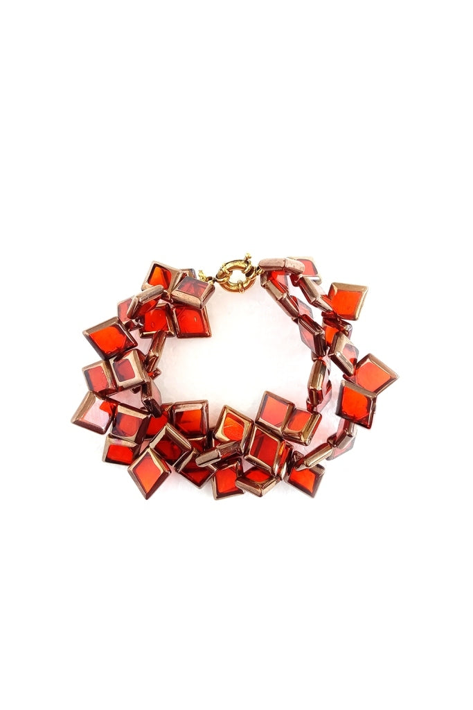 Orange Gold Glass Square Bracelet