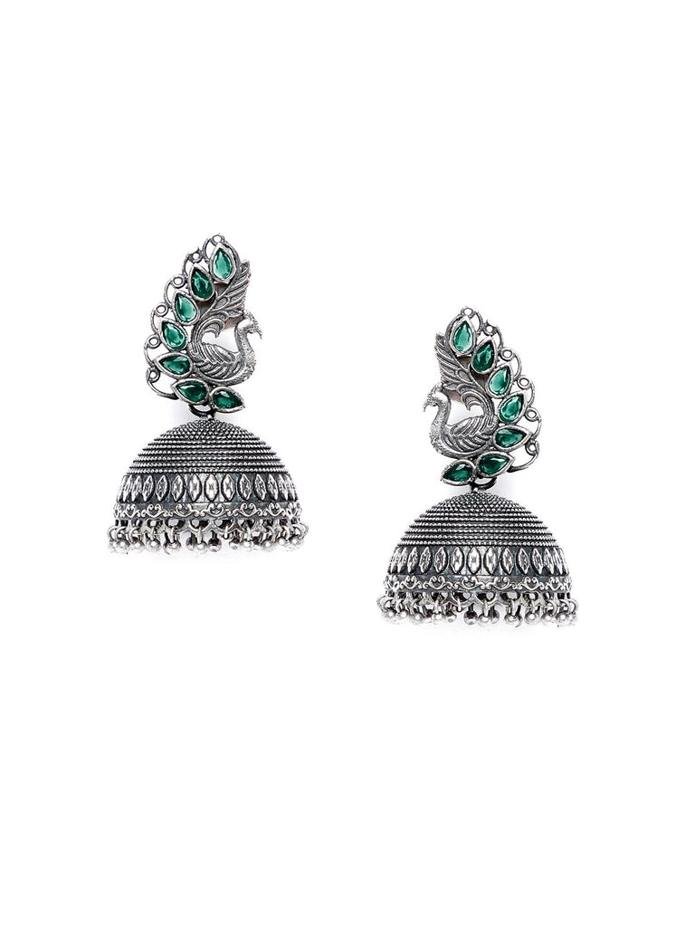 Peacock And Green Stones Embellished Tribal Jewellery Silver Plated Jhumkis