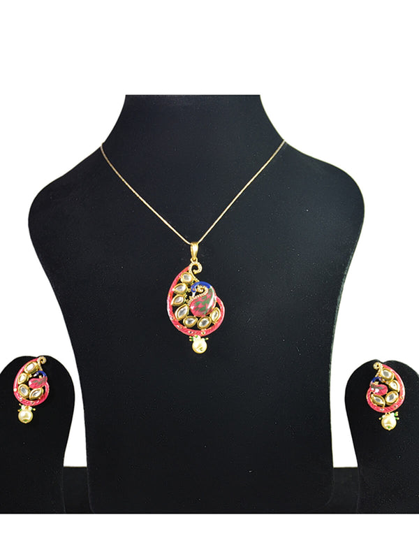 Peacock and Kundan Pendant Set