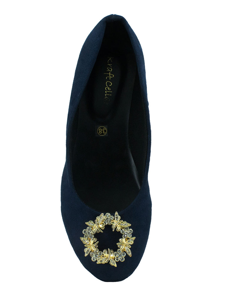 Periwinkle navy blue belly shoes