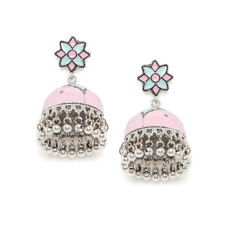 Pink and Green Meenakari Jhumki Earrings