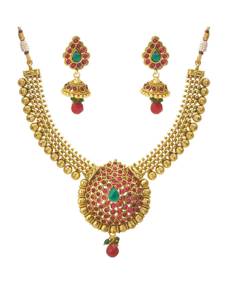 Pink And Green Wedding Attire Necklace Set
