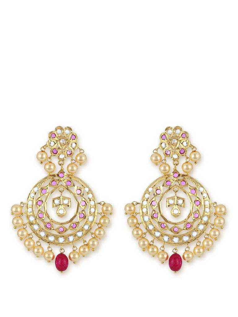 Pink And Red Pearl And Stone Chandbali Earrings