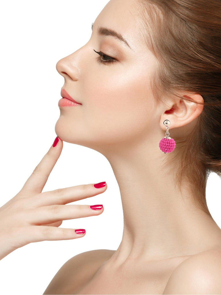 Pink Bead Ball Earrings