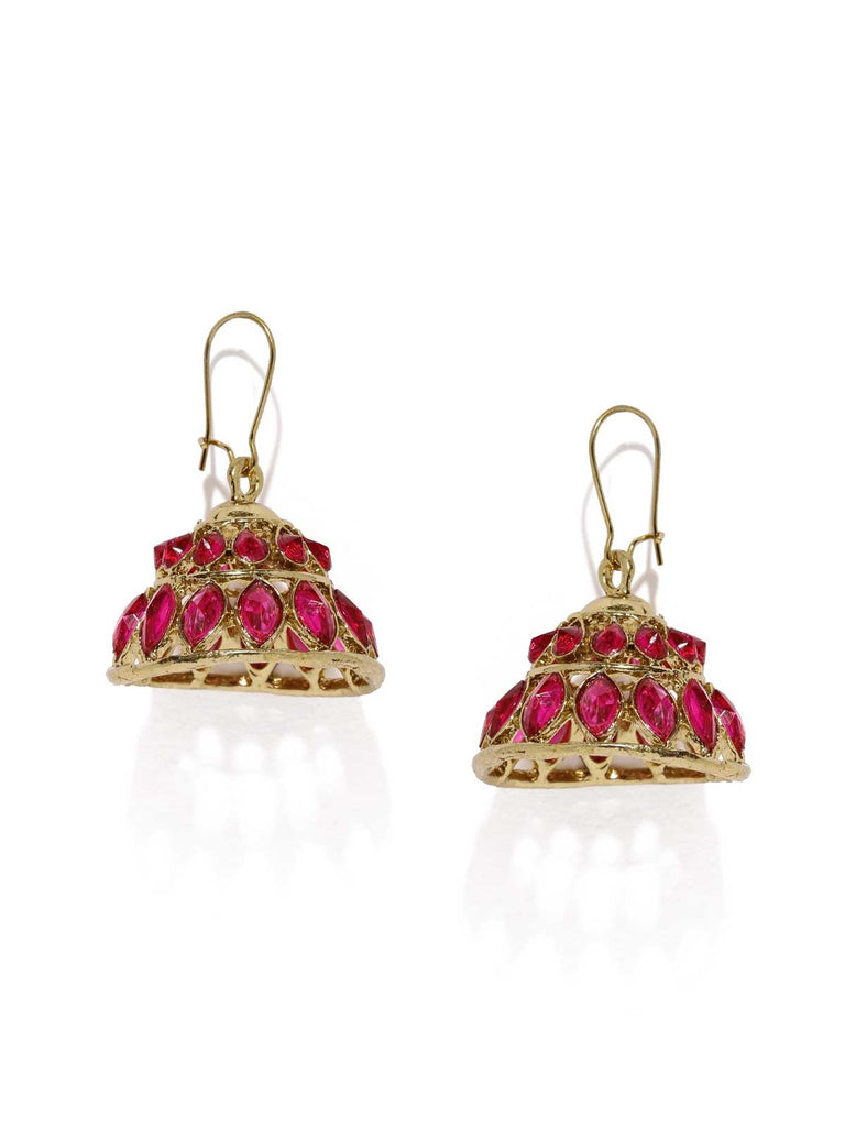 Pink Dome Jhumka Earrings