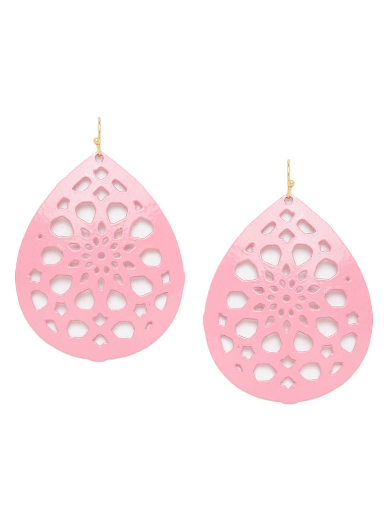 Pink Drop Metal Earrings