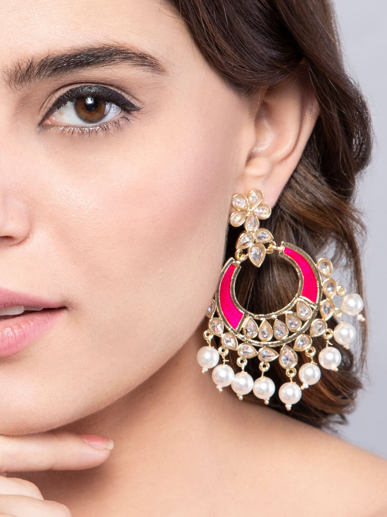 Pink Enameled Kundan And Pearl Chandbali Earrings
