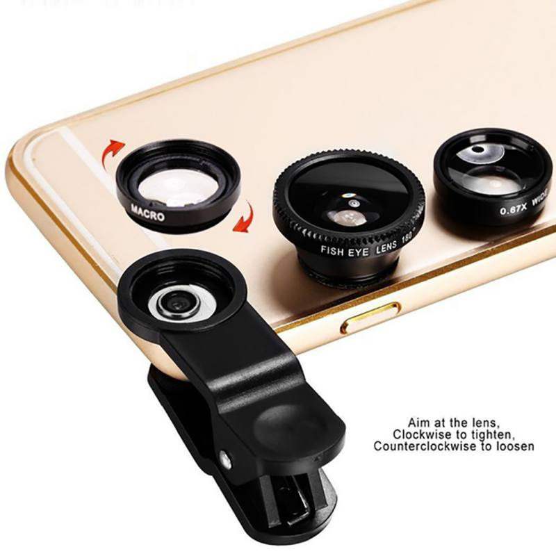 3in1 Clip-on Mobile Phone Camera Lens Kit 180 Degree Fisheye Lens