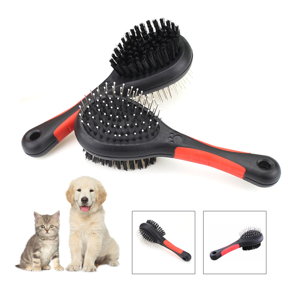 Pet Double Sided Bath Brush Dog Cat Hair Massage Handle Comb