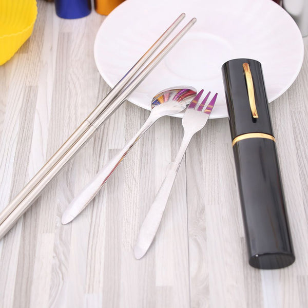 3 in 1New Cutlery Set Travel Folded Chopsticks  Stainless Steel Spoon