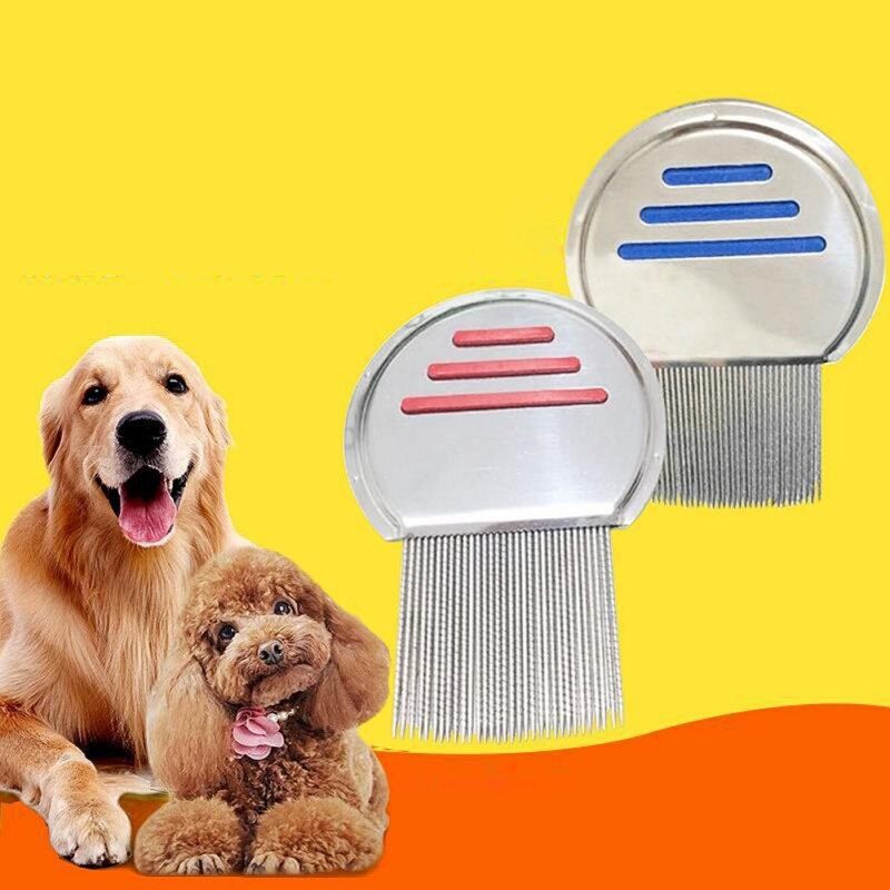 Pet Cat Dog Hair Flea Comb Stainless Pin Massage Comb