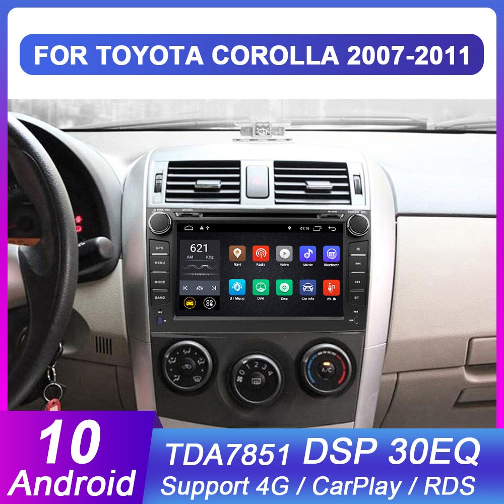 Eunavi 2 din Android 10 TDA7851 car dvd multimedia to Toyota Corolla 2007 2008 2009 2010 2011 GPS stereo radio pc touch screen