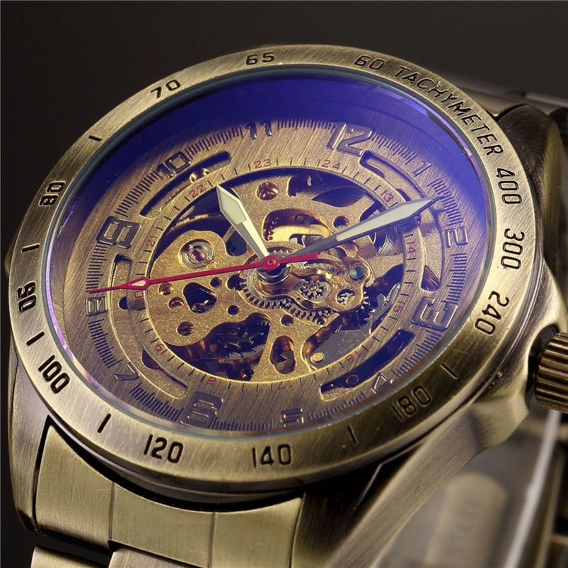 Antique Design Automatic Skeleton Mechanical Watch