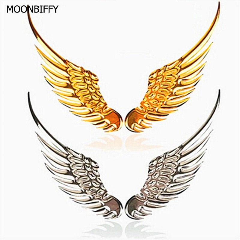 1 Pair Car Styling Fashion Metal Stickers 3D Wings Car Sticker