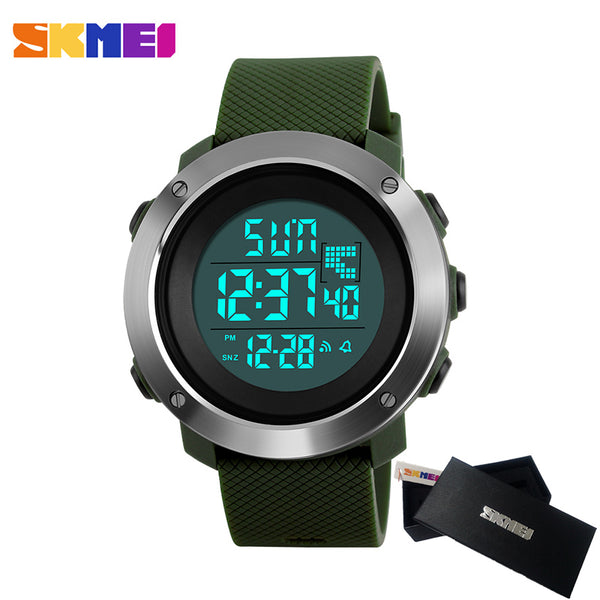 Chrono Double Time Digital LED electronic Clock Man Military Dress Watch