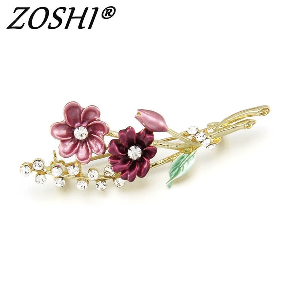 ZOSHI Brand Flower Oil Dripping Gold Color Pins Brooches