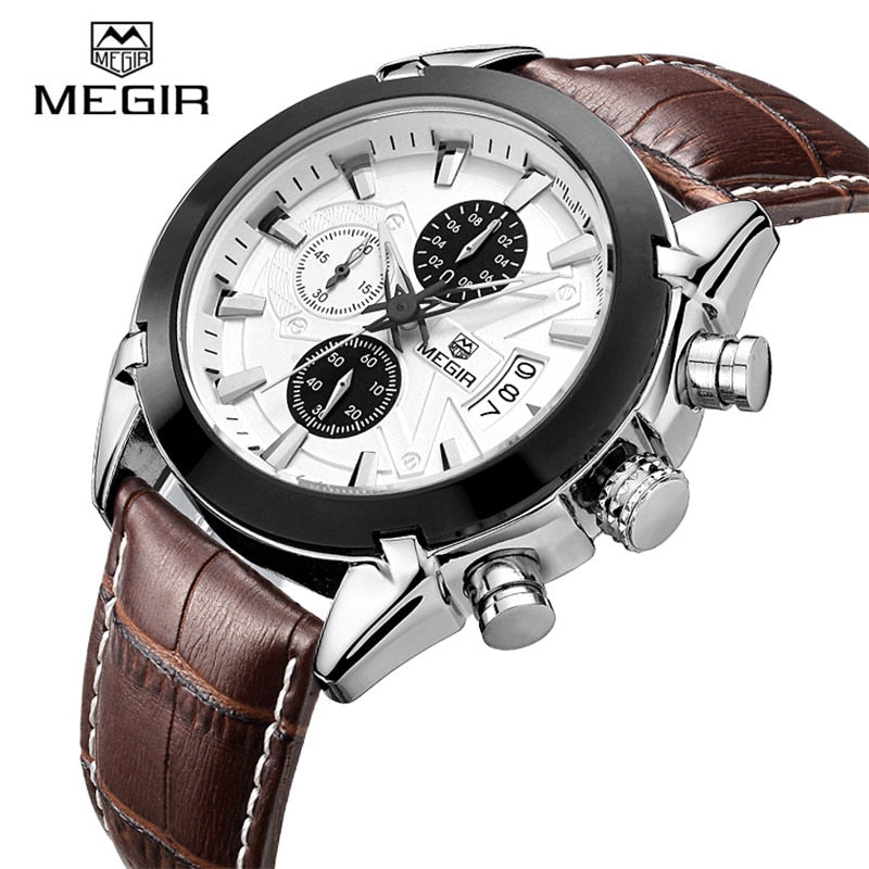 Megir Quartz Watches Men Top Luxury Brand Sports Fashion Leather Wrist Watch