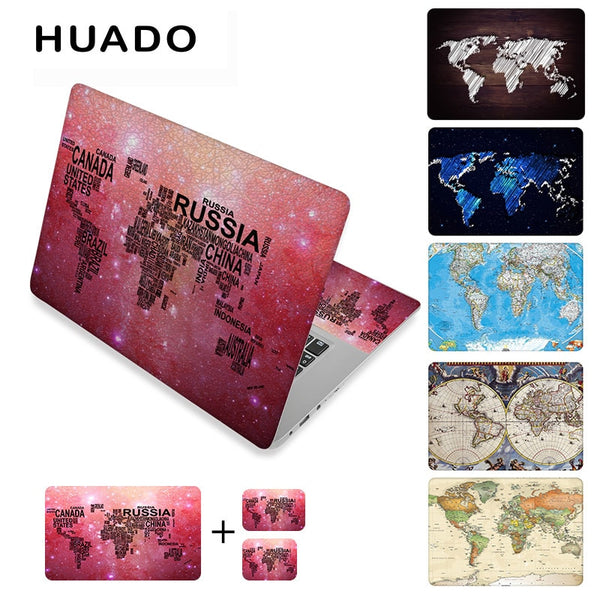 "World map laptop stickers 17"" vinyl notebook skin 15.6""15"" decals 12""14""computer sticker cover"