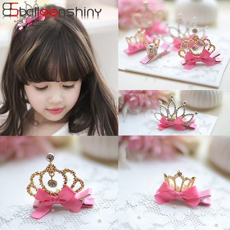 BalleenShiny 1 PC New Design Shiny Rhinestone Crown Hair Clip Girl Kids