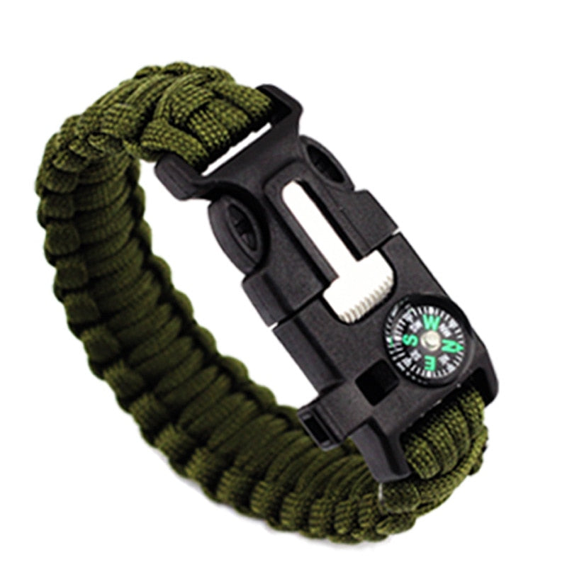 Outdoor Survival Bracelet Men Women Braided Paracord Multi-function Camping
