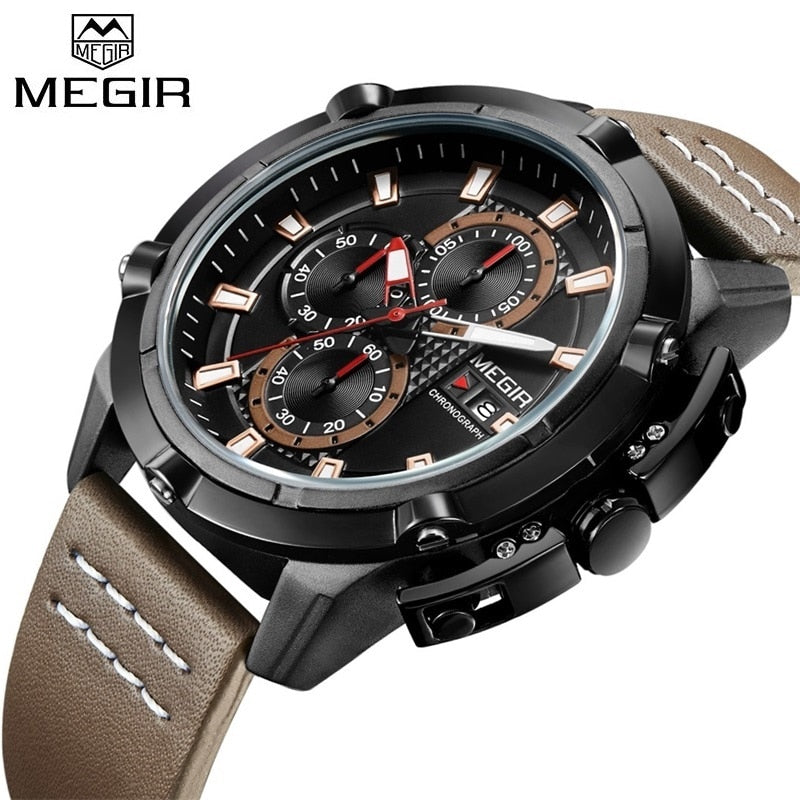 Leather strap Army Military Analog Chronograph Wrist Watches Clock Male