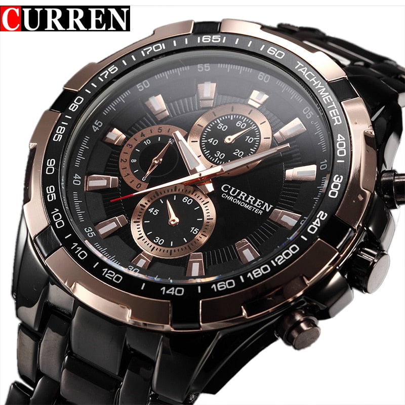 Fashion Curren Luxury Brand Man quartz full stainless steel Watch