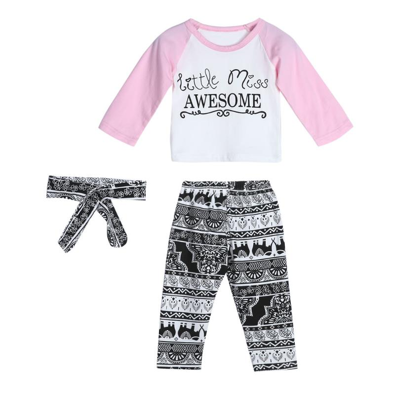 Christmas Pink Long Sleeve Tops Trousers With Headband Suits Children Clothes