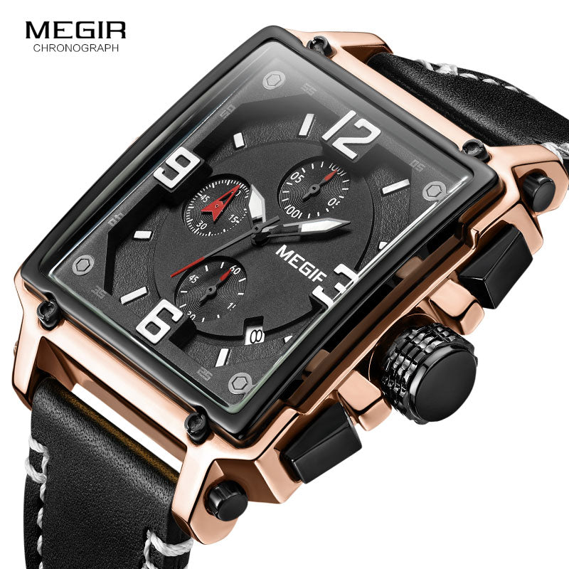 Top Brand Rectangle Luxury Leather Army Chronograph Quartz Wrist Watches