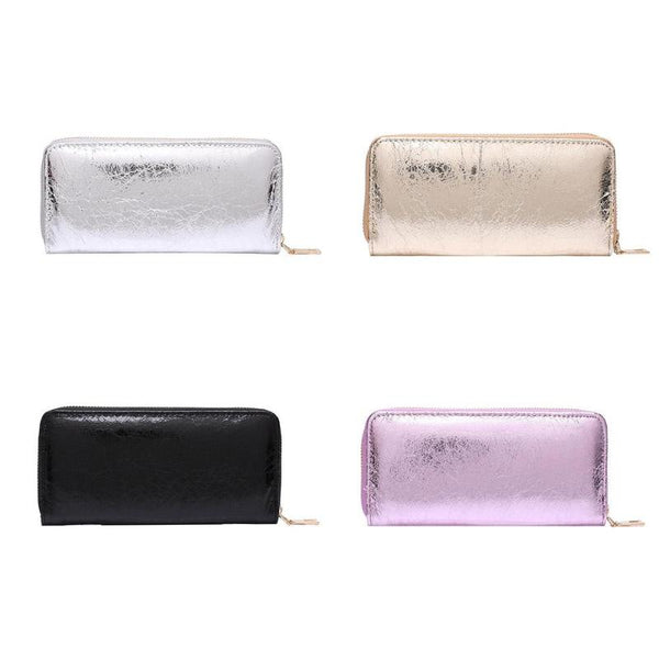 Laser Long Clutch Zipper Purse Pure Color Clutch Bag