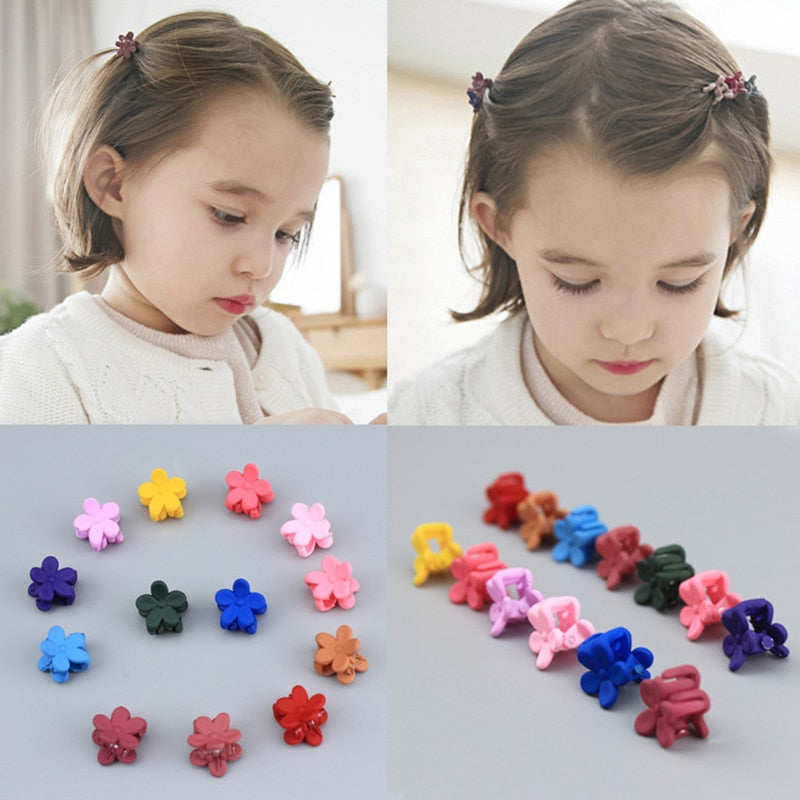 10 pcs New Fashion Baby Girls Small Hair Claw Cute Candy Color flower Jaw Clip