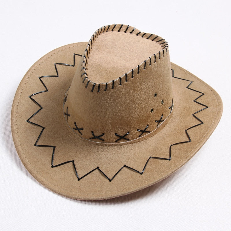 Men&Women's Cowboy Hat Wide Brim Solid Color Caps