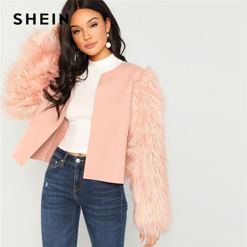 SHEIN Pink Weekend Casual Open Round Neck Front Contrast Faux Fur Sleeve Coat