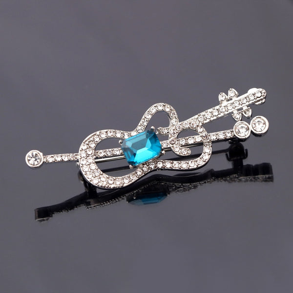 Fashion Blue White Crystal Guitar Shape Brooches