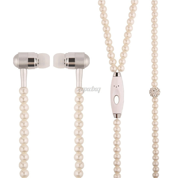 1pc Pearl Necklace 3.5mm Chain Earphone Headset Stereo For iPhone Android PC MP3 Oct30 Drop ship