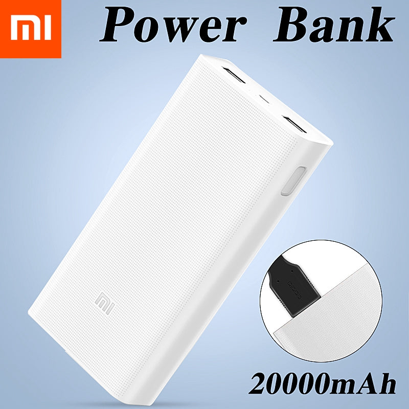 Original Xiaomi 2C 20000mAh Power Bank 2 Dual USB QC3.0 External battery Digital Display Quick Charge Polymer portable charging